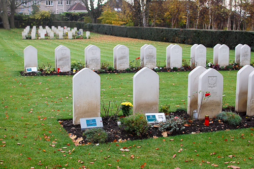 Polish war graves in Corstorphine Hill cemetery, Edinburgh.