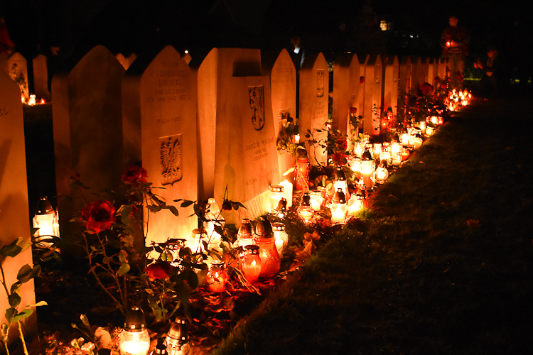 Polish war graves on All Saints Day in Corstorphine Hill cemetery, Edinburgh.