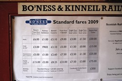 Ticket Prices 2009, Bo'ness and Kinneil Railway