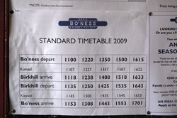 Train Timetable 2009, Bo'ness and Kinneil Railway