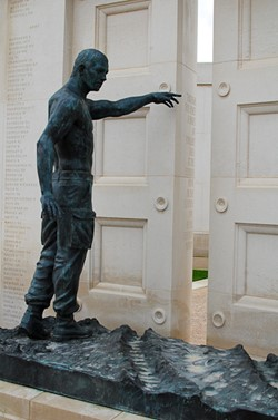 Soldier Points to Doors of Eternity - Armed Forces Memorial, National Memorial Arboretum