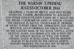 Warsaw Uprising August 1944 to October 1944 - Polish Armed Forces Memorial