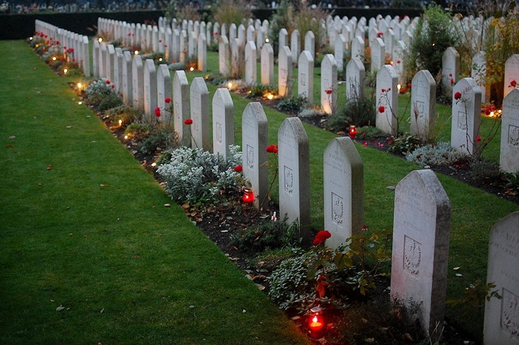 Candles on the Graves of Polish Airmen at Newark - All Souls